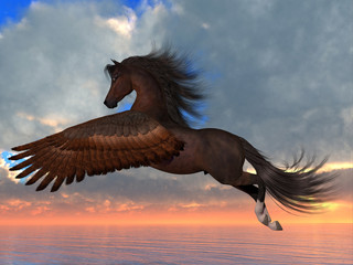 Bay Pegasus Horse - An Arabian Pegasus horse flies over the ocean with powerful wing beats on his way to his destination.