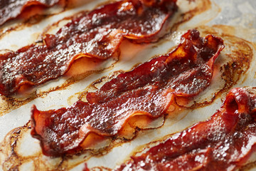 Roasted bacon in close-up