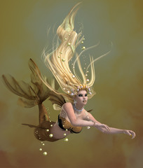 Golden Mermaid - A mermaid is a mythical legendary creature composed of a beautiful woman with a fish tail.