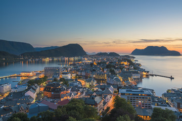 ??lesund, Norway - Panorama of the Town at Sunset