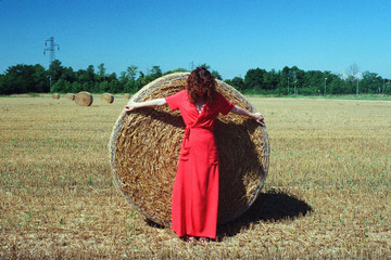 A woman and a grain roll