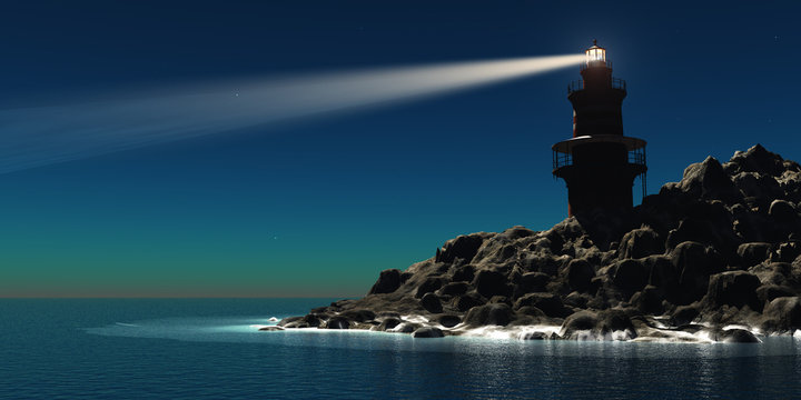 Lighthouse - A red and white lighthouse guides sailors and boatmen away from the rocky shoreline.
