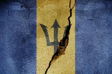 Barbados  FLAG PAINTED ON CRACKED WALL