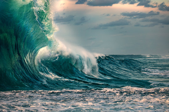 Huge ocean wave during storm. Sea water background in rough conditions