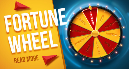vector illustration of wheel of fortune 3d object isolated on blue background place for text Fototapete