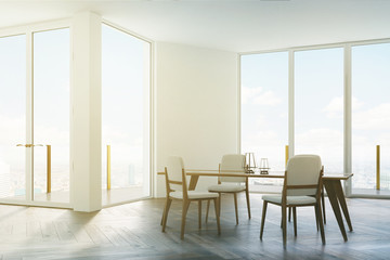 White dining room, white and wooden chairs toned
