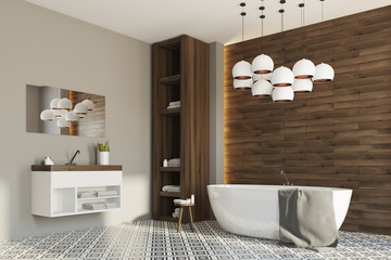 Gray and wooden bathroom, corner