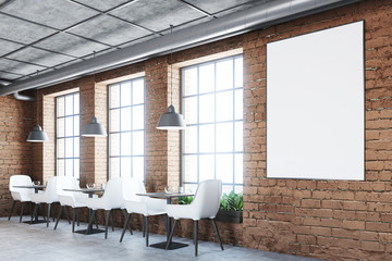 Brick cafe with white chairs, poster
