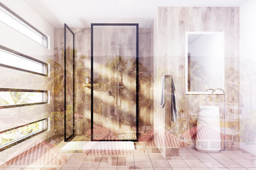 Wooden shower and a sink, toned