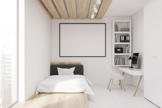 White wall bedroom and home office, front
