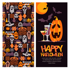 Happy Halloween vector banner, poster, greeting or invitation design with place for text. Hand drawn doodle texture and label with pumpkin, cocktails and letters. Holiday design elements.