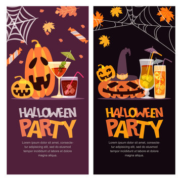 Halloween party vector banner, poster, greeting or invitation design with place for text. Hand drawn illustration with pumpkin, cocktails and letters. Holiday design elements.