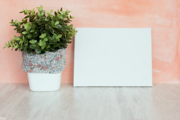 Mock up poster lean at pink wall. Blank white canvas with green plant.