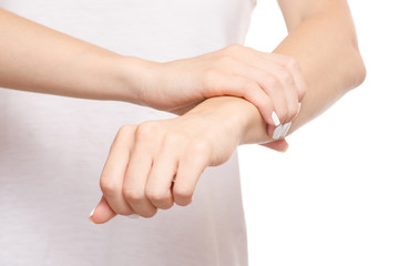 Female hand hurts wrist hand