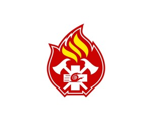 Firefighter logo vector