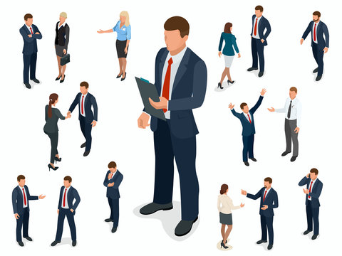 Isometric set of Businessman and businesswoman character design. People isometric business man in different poses isolated.