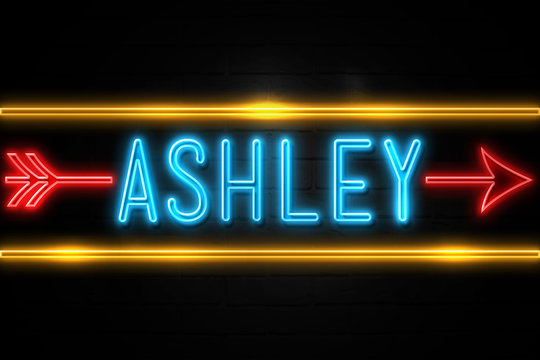Ashley  - fluorescent Neon Sign on brickwall Front view