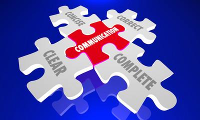 Communication Clear Concise Complete Correct Puzzle 3d Illustration