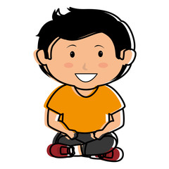 cute little boy seated character vector illustration design