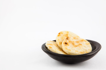 Roasted traditional Colombian white corn arepa