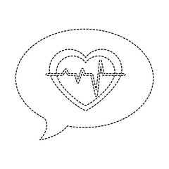 speech bubble with heart cardio vector illustration design