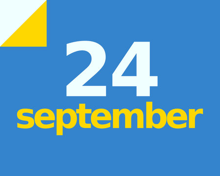 24 September Flat Calendar Day of Month Number in Blue Yellow Paper Note