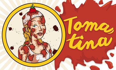 Button with Tomato Splatter and Young Woman Celebrating Tomatina Festival, Vector Illustration