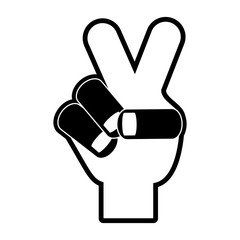 peace sign icon - hand showing two fingers over white background vector illustration