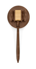 3d rendering of an isolated dark wood judge gavel resting on a sound block in top view.