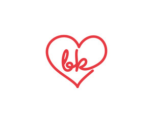 Lowercase letter bk and heart 1