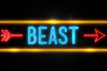 Beast  - fluorescent Neon Sign on brickwall Front view Wall mural