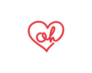 Lowercase letter oh and heart 1