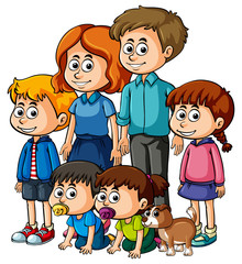 Parents with many happy children