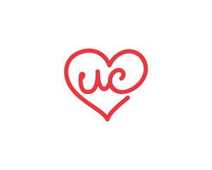 Lowercase letter uc and heart 1