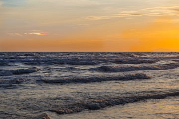 Sunset and sea waves, Beautiful gold sunset on the sea. , Sea Sunset
