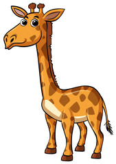 Giraffe with happy face on white background