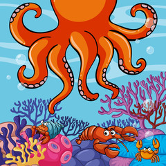 Underwater scene with giant octopus and crabs