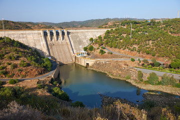 Pomarao Dam and hydroelectric power station on Chanza Reservoir near river Guadiana  between Portugal and Spain