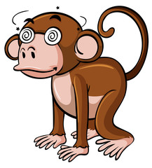 Monkey with dizzy eyes on white background