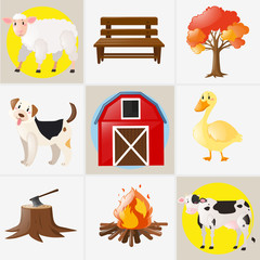Different types of farm animals and elements