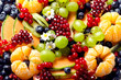 Various fresh fruits and berries background