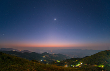 Night landscape from the high mountains in the countryside of Chiang Rai province of Thailand.