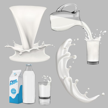 whole milk big set, pouring and splashing 3d vector realistic illustration, diary product design elements