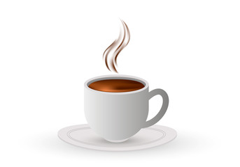 White cup of hot coffee. Vector.