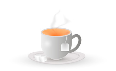 A white cup of tea with teabag and sugar. Vector.