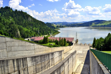 Dam water on Czorsztynski lake. Niedzica, Czorsztyn, Poland.
