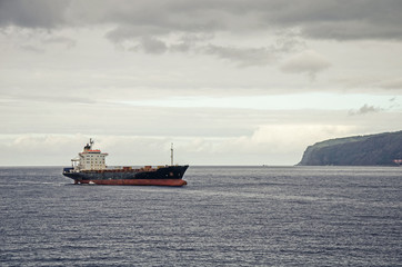 A bulk carrier in the sea