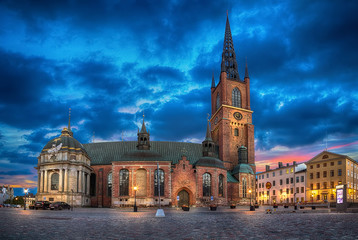 HDR image of Riddarholmen Church at dusk located in Old Town (Gamla Stan) of Stockholm, Sweden