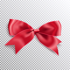 Realistic satin red bow knot. Vector illustration icon isolated.