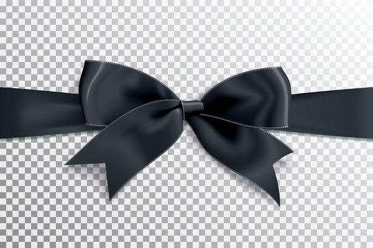 Realistic satin black bow knot on ribbon. Vector illustration icon isolated.